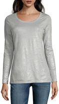 A.N.A a.n.a Long-Sleeve Coverstitch-Shoulder Crewneck Knit Top