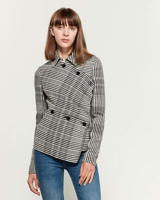 Jil Sander Plaid Asymmetrical Wrap Jacket