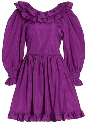 MSGM Ruffle Taffeta Mini Dress