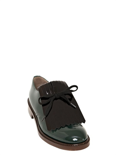 Marni 30mm Fringed Patent Lace-Up Shoes