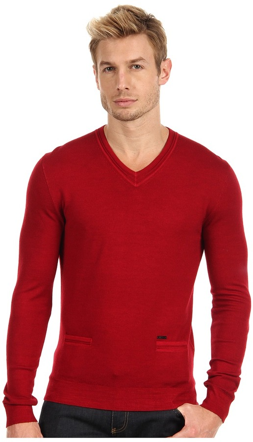 DSquared DSQUARED2 - Long Sleeve V-Neck Sweater with Elbow Patches (Bordeaux) - Apparel