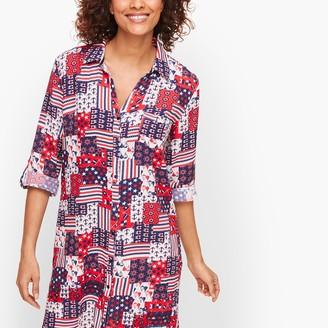 Talbots Crinkle Cotton Beach Shirt - Nautical