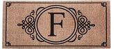 Evergreen Sassafras Decorative Insert Mat, 10x22 Inches, Burlap Monogram F