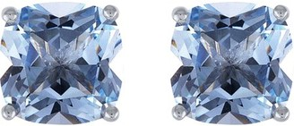 Brilliance+ Believe By Brilliance Sterling Silver Plated Simulated Blue Topaz & CZ Cushion Earring and Pendant 2-Piece Set