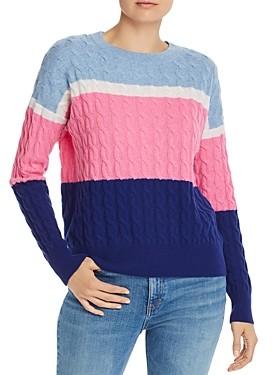 Aqua Cashmere Color-Block Cable-Knit Cashmere Sweater - 100% Exclusive