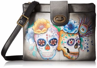 Anuschka Women's Leather Rfid Blocking Crossbody Organizer | Hand Painted Original Artwork | Calaveras De Azucar One Size