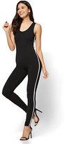 New York & Co. Racing-Stripe Catsuit - Black