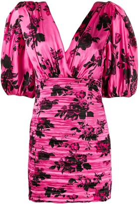 Laneus Floral Print Ruched Fitted Dress