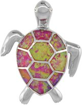 Sabrina Silver Sterling Silver Sea Turtle Pendant Synthetic Opal Inlay Cubic Zirconia Accent, 1 1/4 inch tall