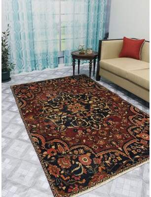 """Loren Noori Rug One-of-a-Kind Distressed Hand-Knotted 5'2"""" x 8'2"""" Wool Red Area Rug Noori Rug"""