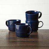 Crate & Barrel Hue Navy Blue Mugs Set of Four