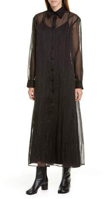Maison Margiela Long Sleeve Sheer Organza Maxi Shirtdress