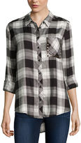 Arizona Long Sleeve Boyfriend Plaid Shirt with Studs- Juniors