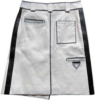 Prada White Leather Skirt for Women