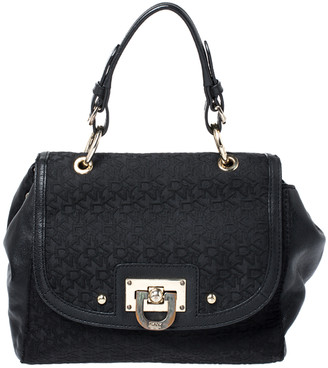 DKNY Black Signature Canvas and Leather Flap Lock Top Handle Bag