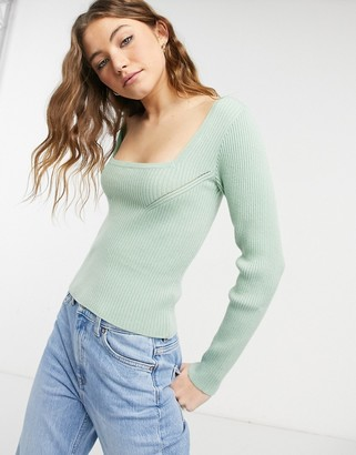 ASOS DESIGN ribbed jumper with square neck in sage
