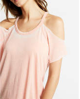 Express Raw Edge Cold Shoulder Tee