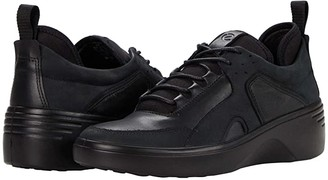 Ecco Soft 7 Wedge City Sneaker (Black/Black Yak Nubuck/Cow Leather) Women's Shoes