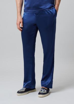 Meng MENG Men S Navy Silk Satin Pajama Bottoms