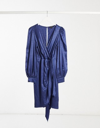 Lipsy metallic jaquard mini dress with wrap skirt in blue