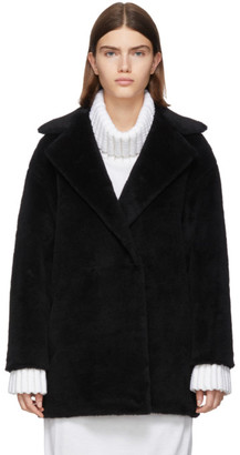 Harris Wharf London Black Alpaca Teddy Double-Breasted Coat