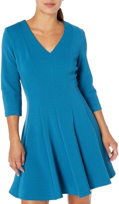 Gabby Skye Women's Petite 3/4 Sleeve V-Neck Solid Knit Fit and Flare Dress