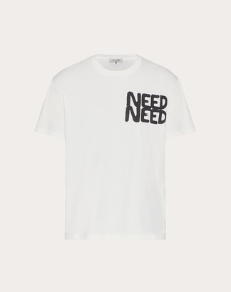 Valentino Cotton T-shirt With Need Need Print Man White/ Black Cotton 100% L
