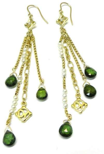 David Yurman 18K Pearl Tourmaline Diamond Earrings