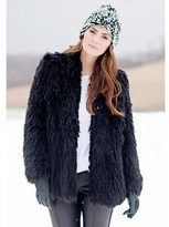 Donna Salyers' Fabulous-Furs Black Llama Hip-length Faux Fur Jacket.
