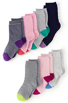 Lands' End Girls Pattern Sock (7-pack)-Dot/Stripe Multi