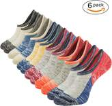 The One Mens No Show Low Cut Socks Non Slip 6Pack Vintage Color Block Casual Ankle Socks