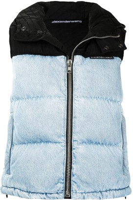 Alexander Wang Denim-Effect Colour Block Padded Gilet