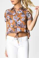 Everly Camel Floral Blouse