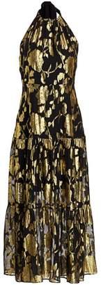 Milly Metallic-Burnout Tiered Halter Dress