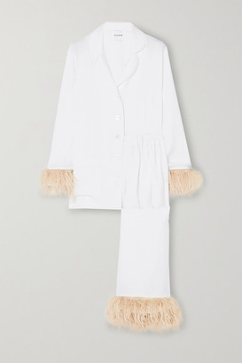 Sleeper Party Feather-trimmed Crepe De Chine Pajama Set - White