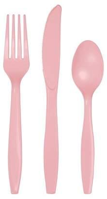 Creative Converting 24ct Classic Pink Assorted Plastic Disposable Silverware Flatware