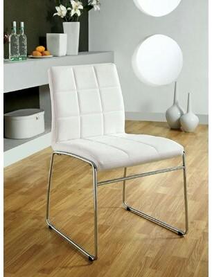 Orren Ellis Harbaugh Upholstered Metal Side Chair Upholstery Color: White