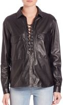 SET Leather Lace-Up Blouse