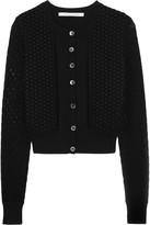 Diane von Furstenberg Tyla open-knit cotton paneled silk-blend cardigan