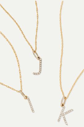 STONE AND STRAND Alphabet 14-karat Gold Diamond Necklace - F