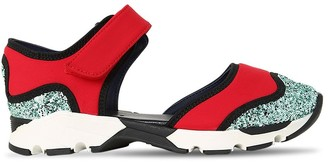 Marni Junior Glittered Neoprene Strap Sneakers