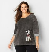 Avenue Sequin Dog French Terry Sweatshirt