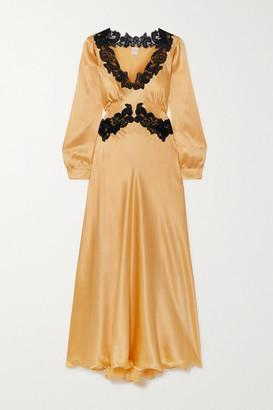 Loretta Caponi Lugina Lace-trimmed Pintucked Silk-satin Dress - Gold