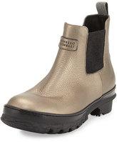 Brunello Cucinelli Metallic Leather Rain Boot, Bronze