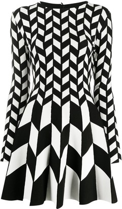 Oscar de la Renta Geometric Print Mini Dress
