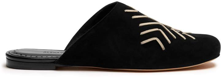 Alexa Wagner Momo embroidered suede backless loafers