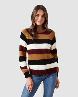 French Connection Stripe Balloon Sleeve Knit