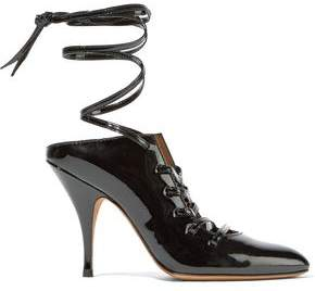 Givenchy Lace-Up Patent-Leather Mules