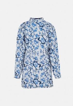 Missguided Blue Brocade High Neck Dress