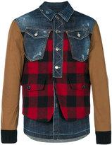 DSQUARED2 denim Buffalo Check jacket - men - Cotton/Spandex/Elastane/Wool/Leather - 46